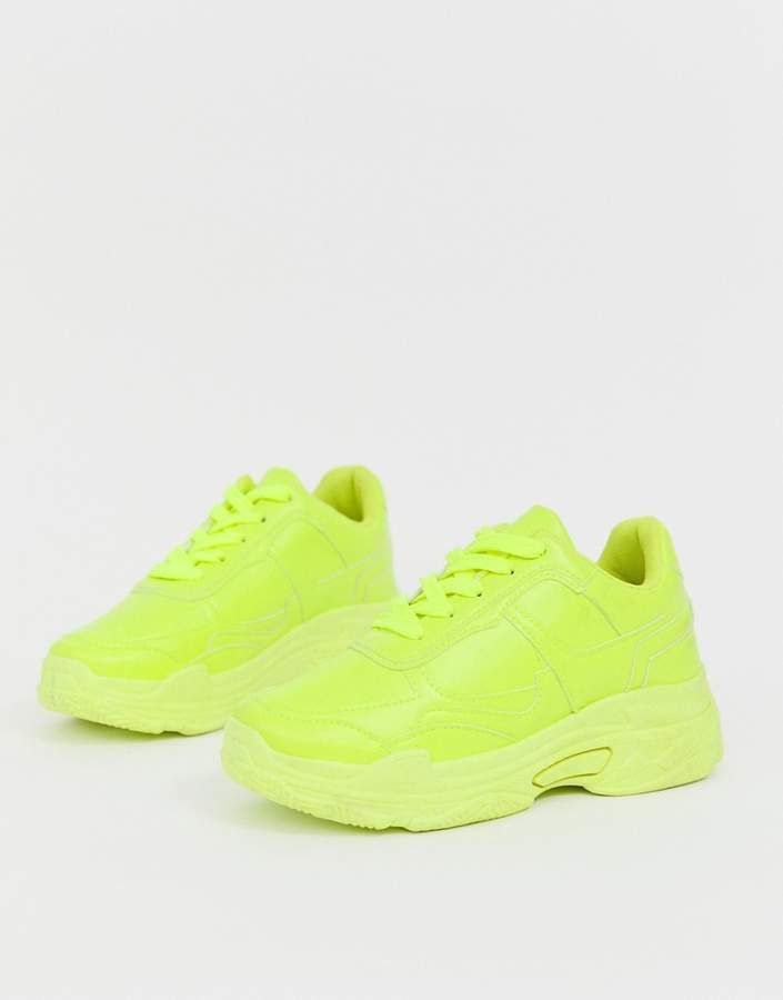 Public Desire Dash neon yellow color drenched sneakers