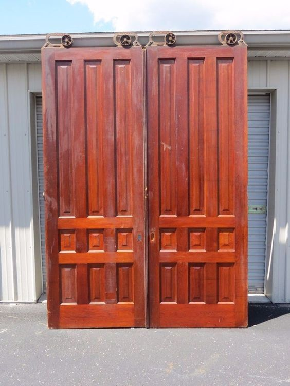 Captivating Antique Pair 8 Ft Tall Cherry Interior Sliding Pocket Doors W/ Rollers  Hardware | Pocket Doors, Hardware And Doors