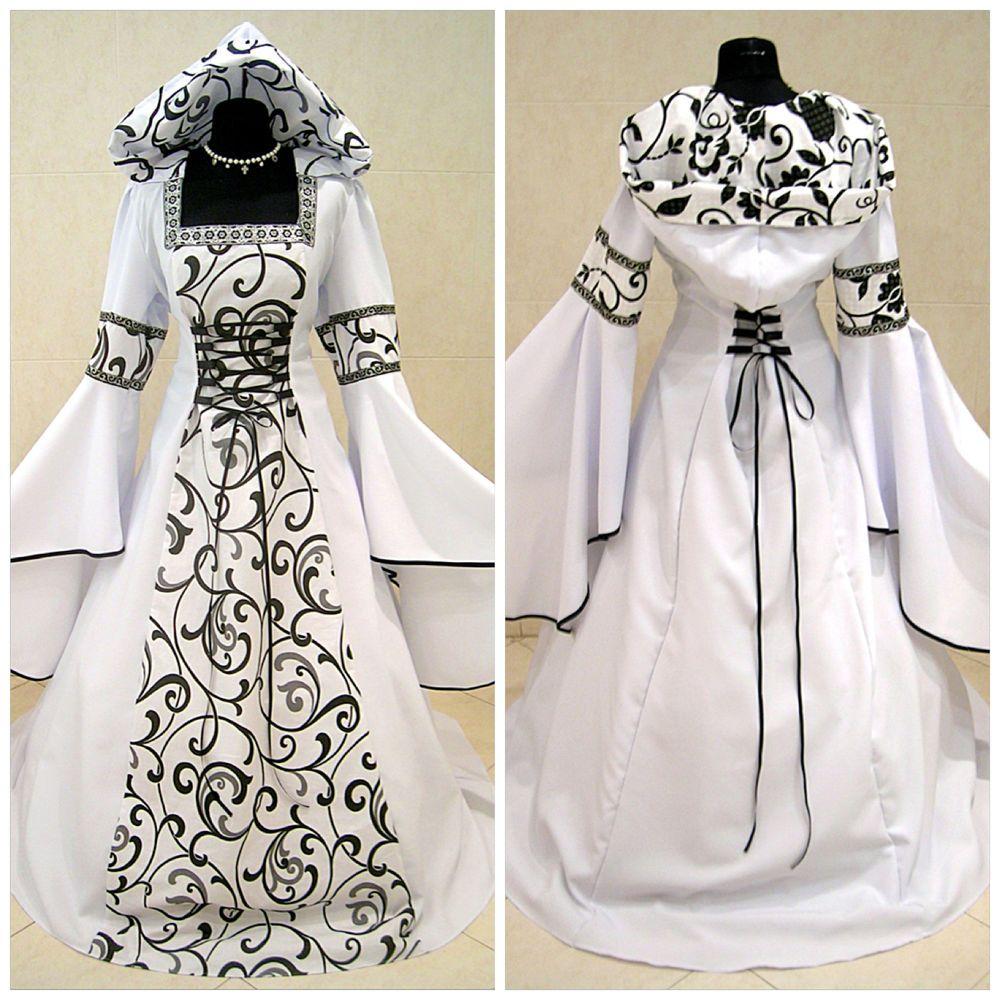 Medieval wedding dress goth 20-22-24 xl-2xl-3xl halloween tudor lotr ...