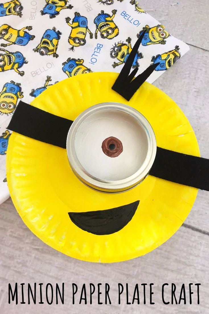 Minion paper plate craft for kids easy rainy day for Crafts for kids com