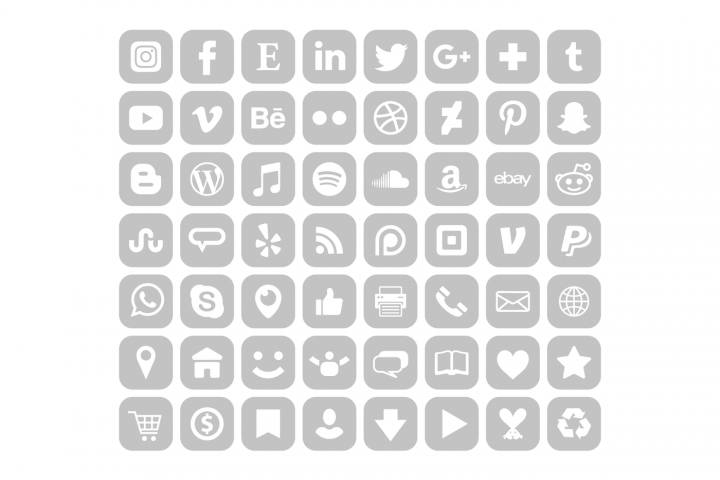 Rounded Square Gray Social Icons By Running With Foxes Social Icons Ios App Icon App Icon Design