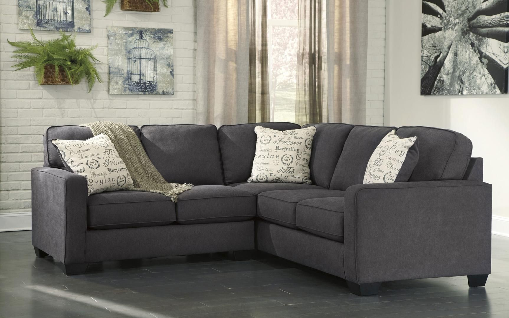 Signature Design by Ashley 166015567 is part of Traditional Living Room Sectional - Signature Design by Ashley Alenya 166015567 2PC Sectional Sofa with Left Arm Facing Loveseat, Right Arm Facing Sofa, Pillows with Print Pattern and Track Arms in Charcoal