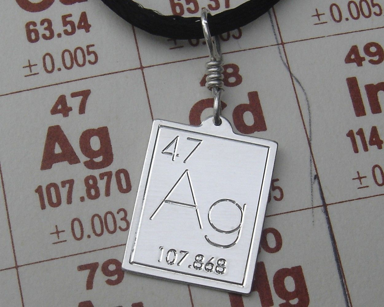 Silver Periodic Table Pendant Atomic Symbol For Silver Science