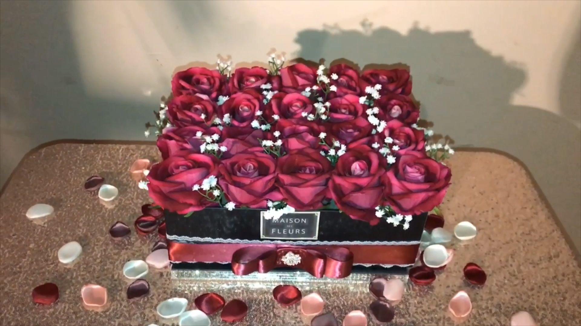 Valentine's day rose box [Video] | Diy wedding decorations, Flower ...