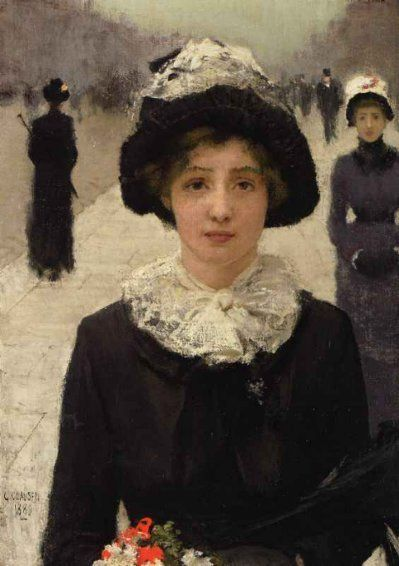 George Clausen(1852ー1944)「In the street」(1889)