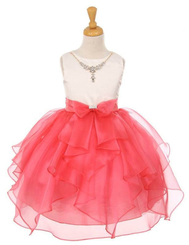 9bbdd740899 Girls Dress Style 2041 - Satin and Organza Dress with Matching Necklace in  Choice of Color