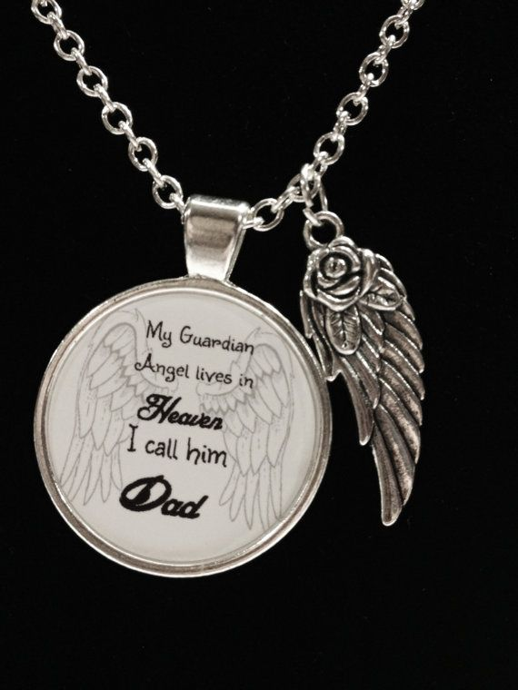 f3f09256b5 Memory Necklace, Dad Angel Necklace, My Guardian Angel Lives In Heaven Wing  Memory Remembrance Sympa