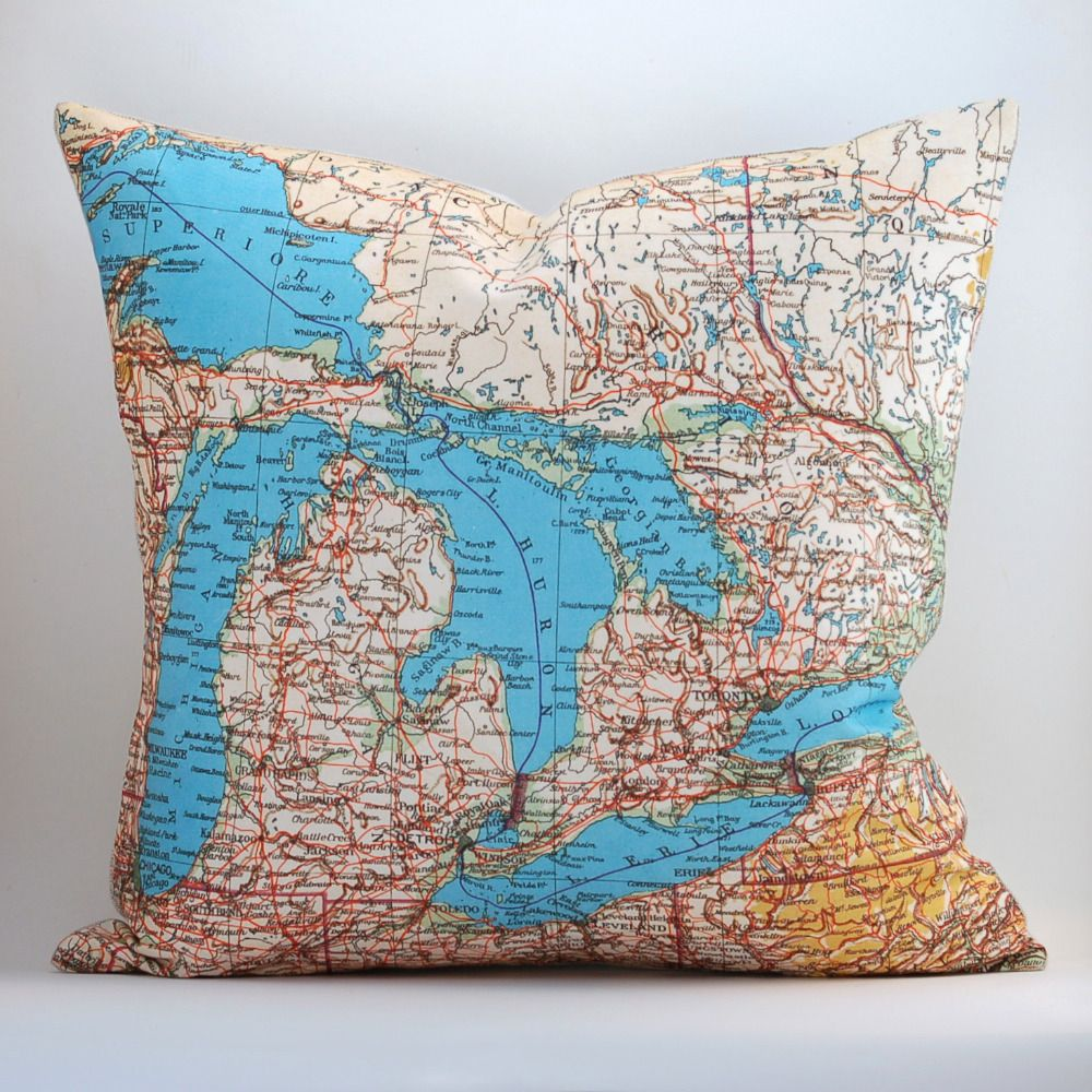 Image of Vintage MICHIGAN Map Pillow Made