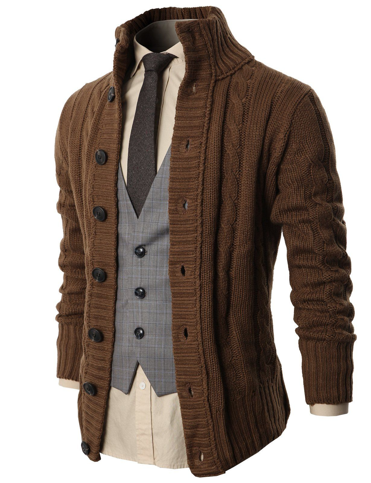 H2H Mens Premium Various Styles Twisted Knit Cardigan Sweater with ...