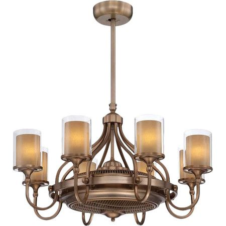 Featuring an elegant chandelier design with a concealed ceiling fan and air ionizer this burnished russet finished fandelier is perfect for your living