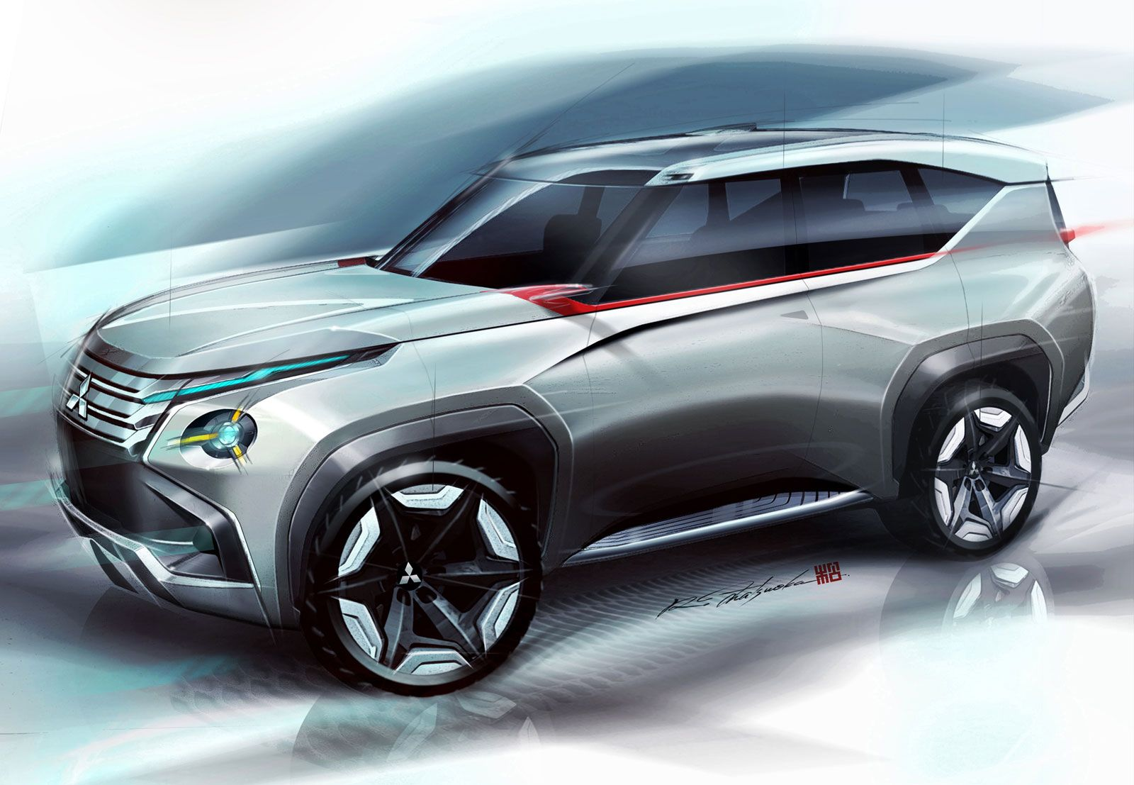 Mitsubishi Concept GCPHEV Design Sketch Car Body