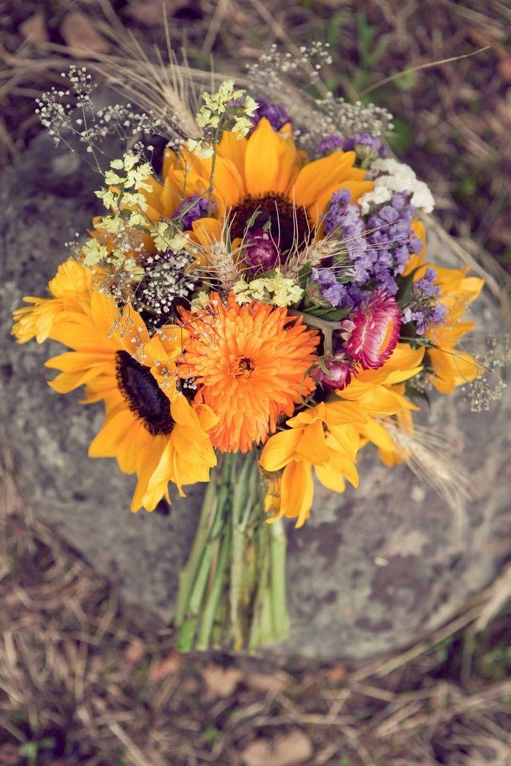 Sunflower Bouquet With Dried Flowers Sunflower Wedding Bouquet