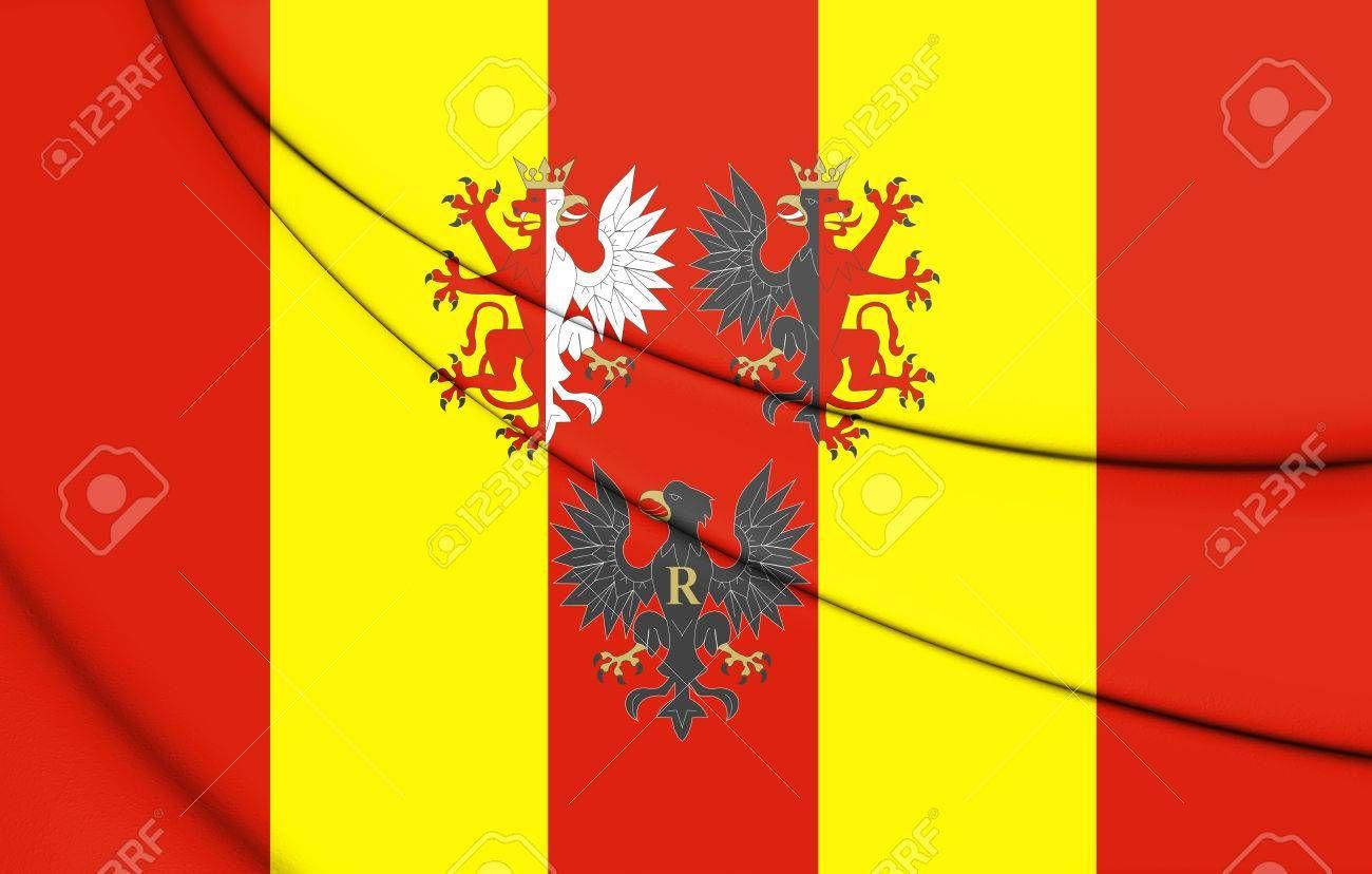 3d flag of lodz voivodeship poland 3d illustration