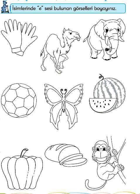 Okul Bahçesi E Sesi Dikkat çalışmalari Preschool Writing