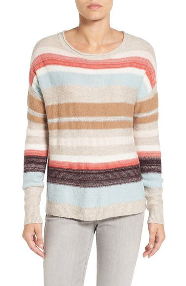 c34d705cacc Caslon® Back Button Stripe Knit Sweater (Regular   Petite) available at   Nordstrom