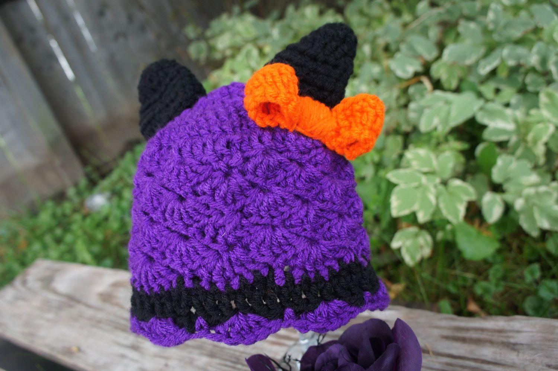 6185db949e6 Purple crochet cat hat for girls