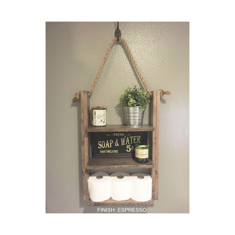 Bathroom shelf hanging ladder shelf rustic wood and rope home