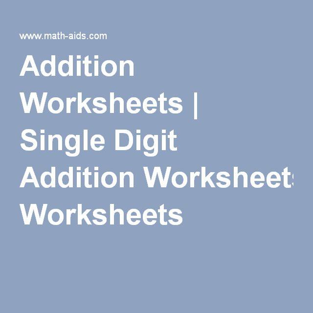 Addition Worksheets   Single Digit Addition Worksheets   Summer ...
