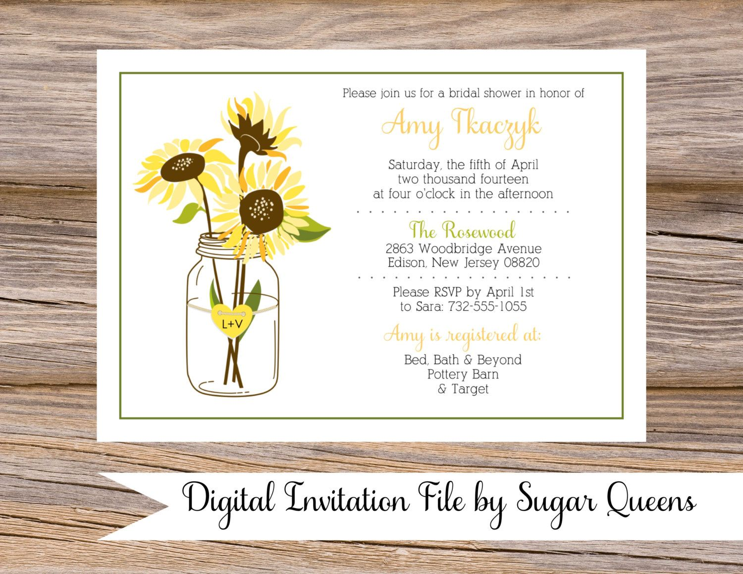 Mason jar sunflowers bridal shower invitations diy by sugarqueens mason jar sunflowers bridal shower invitations diy by sugarqueens filmwisefo Images