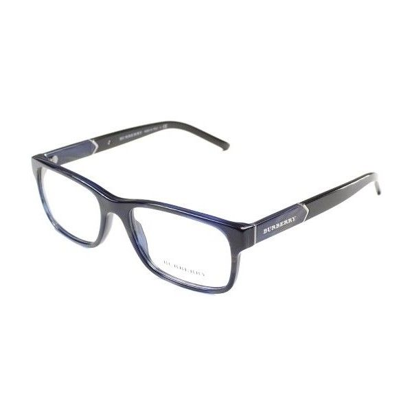 Burberry BE2150 3419 Blue Horn Rectangle Eyeglasses-53mm ($184) ❤ liked on Polyvore featuring accessories, eyewear, eyeglasses, horn eyeglasses, rectangle eyeglasses, rectangle glasses, blue eyeglasses and rectangular eyeglasses