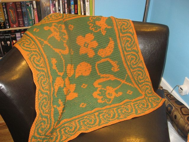 Intarsia Brocade Afghan by itseden, via Flickr, also on Ravelry, neat border!!