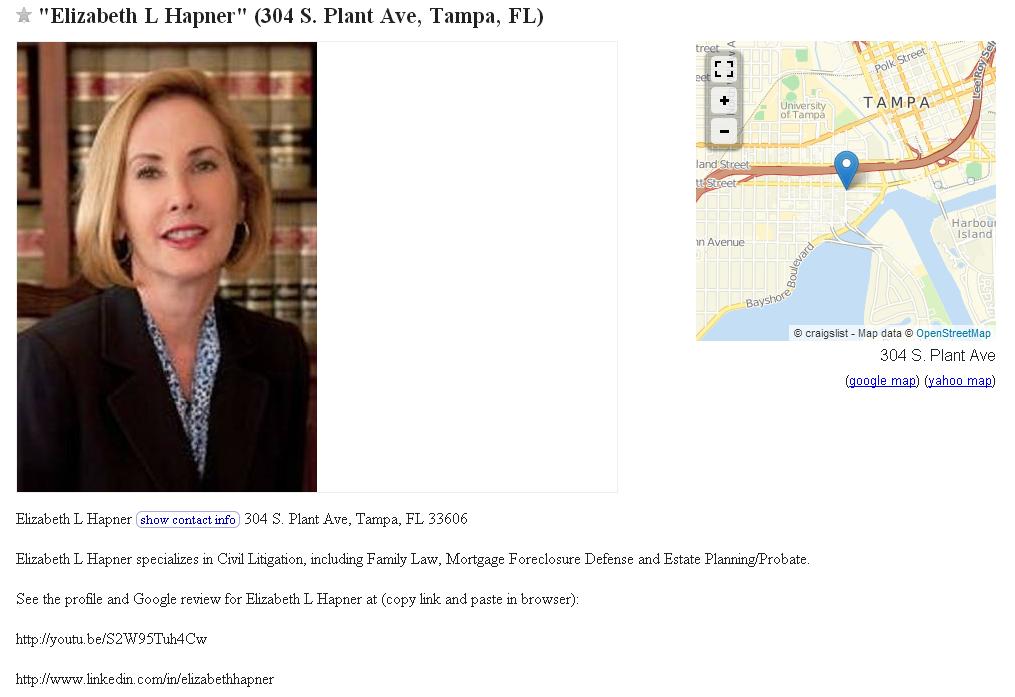 Elizabeth L Hapner Tampa Divorce Lawyer