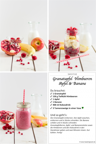 Photo of SMOOTHIE: pomegranate, raspberries, apple & banana