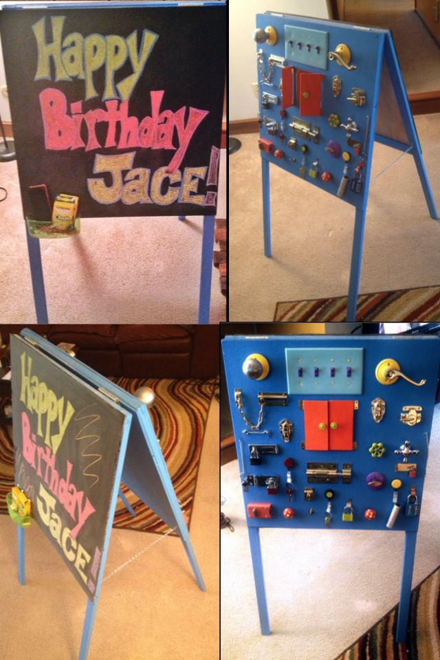 DIY lock and latch board easel. I decided to make one side a lock and latch board and the other side a chalkboard.
