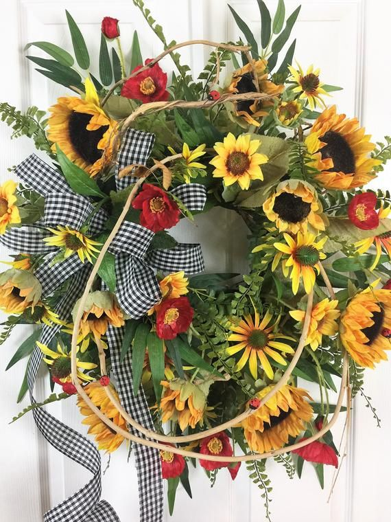 Photo of Sunflower Wreath, Fall Grapevine Wreath, Black and White Check Ribbon, Honeysuckle, Gold and Orange, Fall Door Wreath, Floral Door Decor