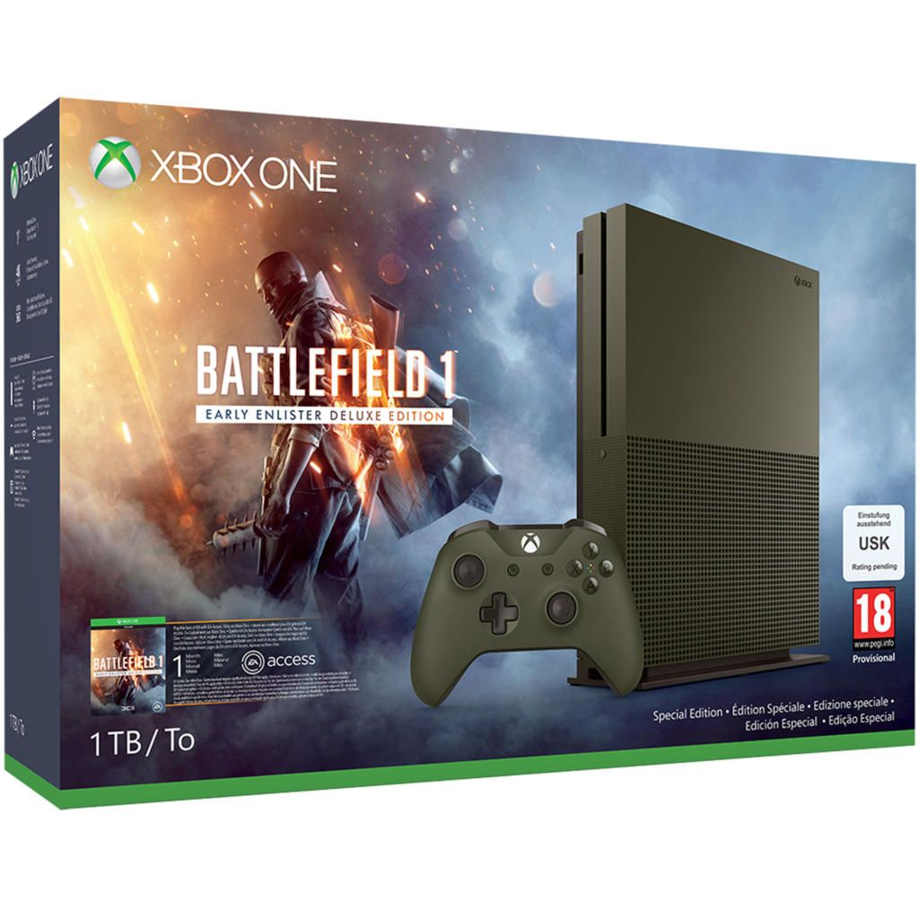 console xbox one s dition limit e battlefield 1 1 to acheter vendre sur r f rence gaming. Black Bedroom Furniture Sets. Home Design Ideas