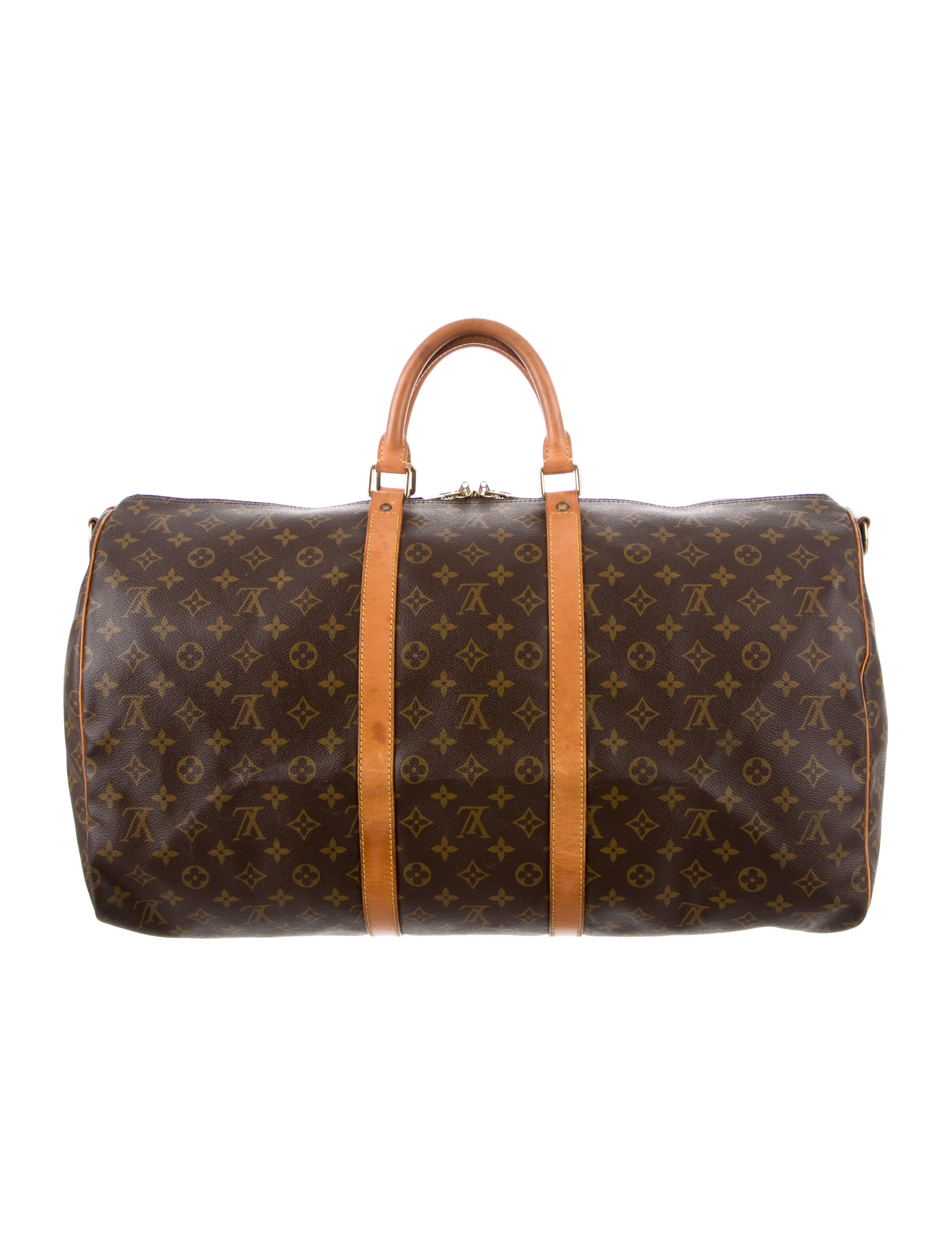 84f3334a1 Brown and tan monogram coated canvas Louis Vuitton Keepall Bandouli¨¨re 60  with brass hardware, tan vachetta leather trim, single adjustable flat  detachable