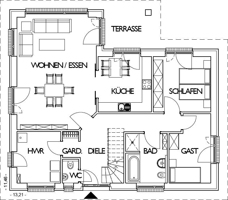 Winkelbungalow Grundriss Erdgeschoss mit 108,54 m²