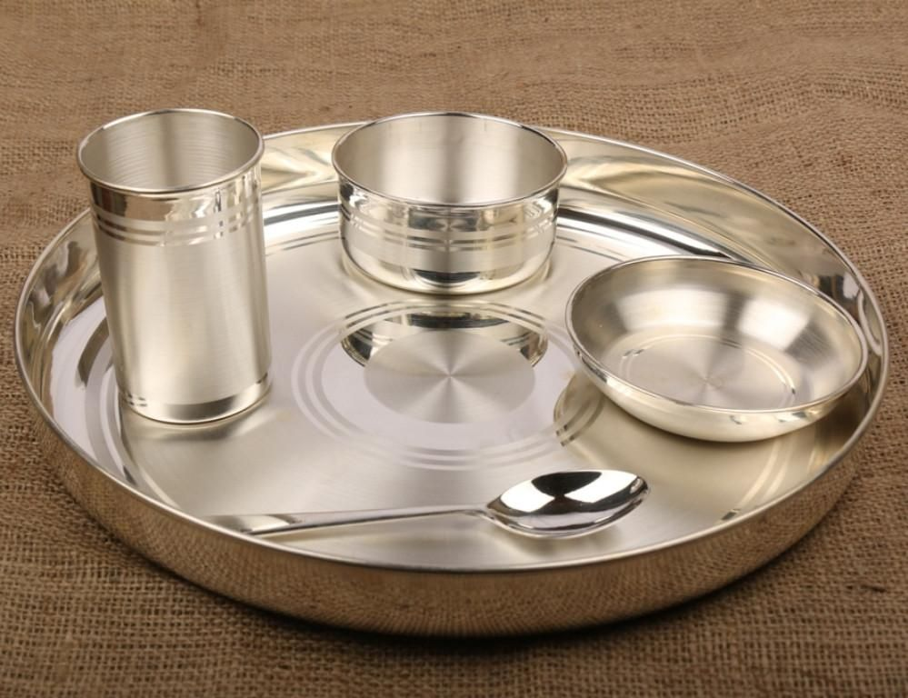 Silver Dinner Set Thali Set With 990 Bis Hallmark Dinner Sets Silver Pooja Items Pure Products