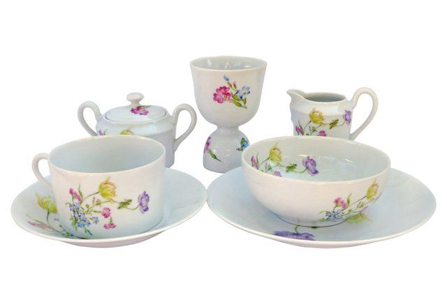 Limoges Porcelain Breakfast Set, 7 Pcs