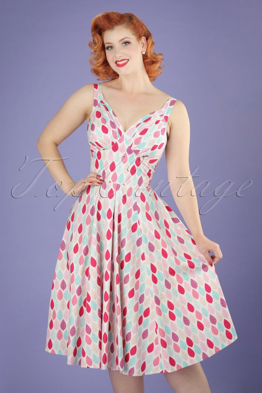 50s Odessa Summer Leaf Swing Dress in Pink