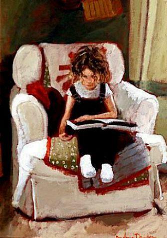 "Rowland Davidson, ""Girl on White Chair"""