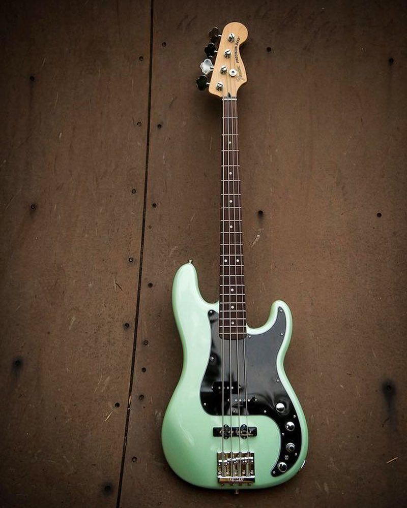 Loving The Surf Green Color On This Fender Precision Deluxe Series Bass Fender Bassgram Instabass Bassporn Bas Fender Bass Guitar Bass Guitar Fender Bass