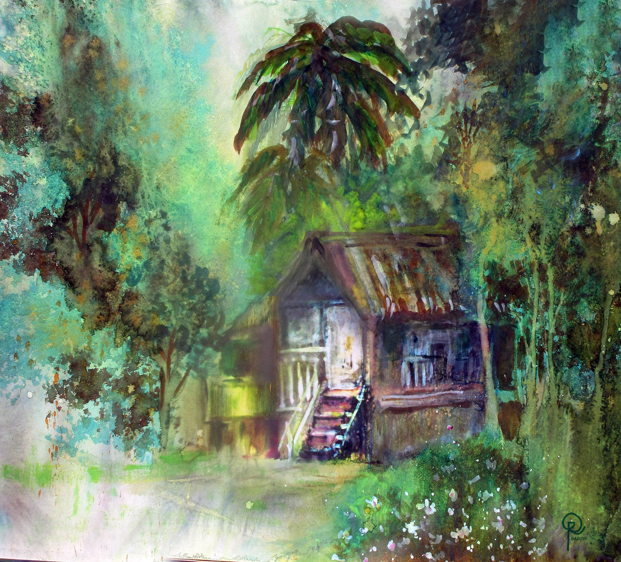 Racquel Gabuya S Art Nipa Hut Philippine Art Watercolor
