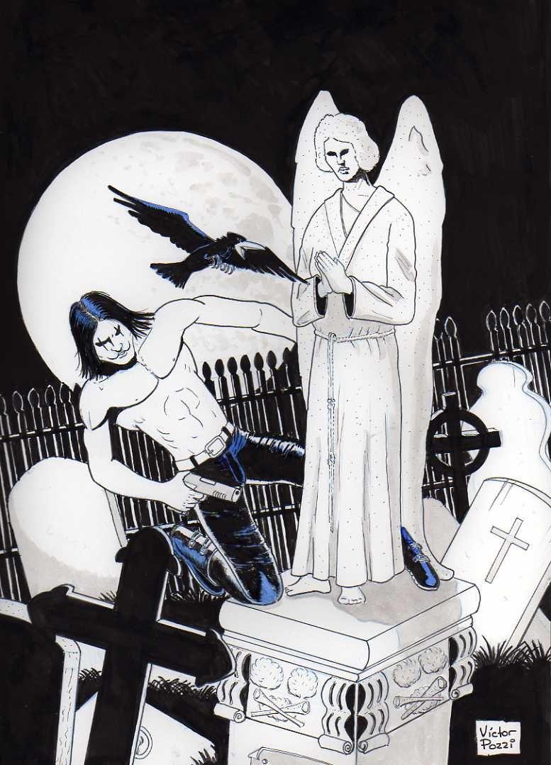 El cuervo, marcadores, tinta china y toque de acrílico, 21,5 x 31,5 cm, 2011 Diseño del personaje interpretado por Brandon Lee en el film The Crow