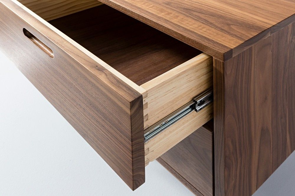 Large View Walnut Timber Timber Bedside Table Solid Walnut