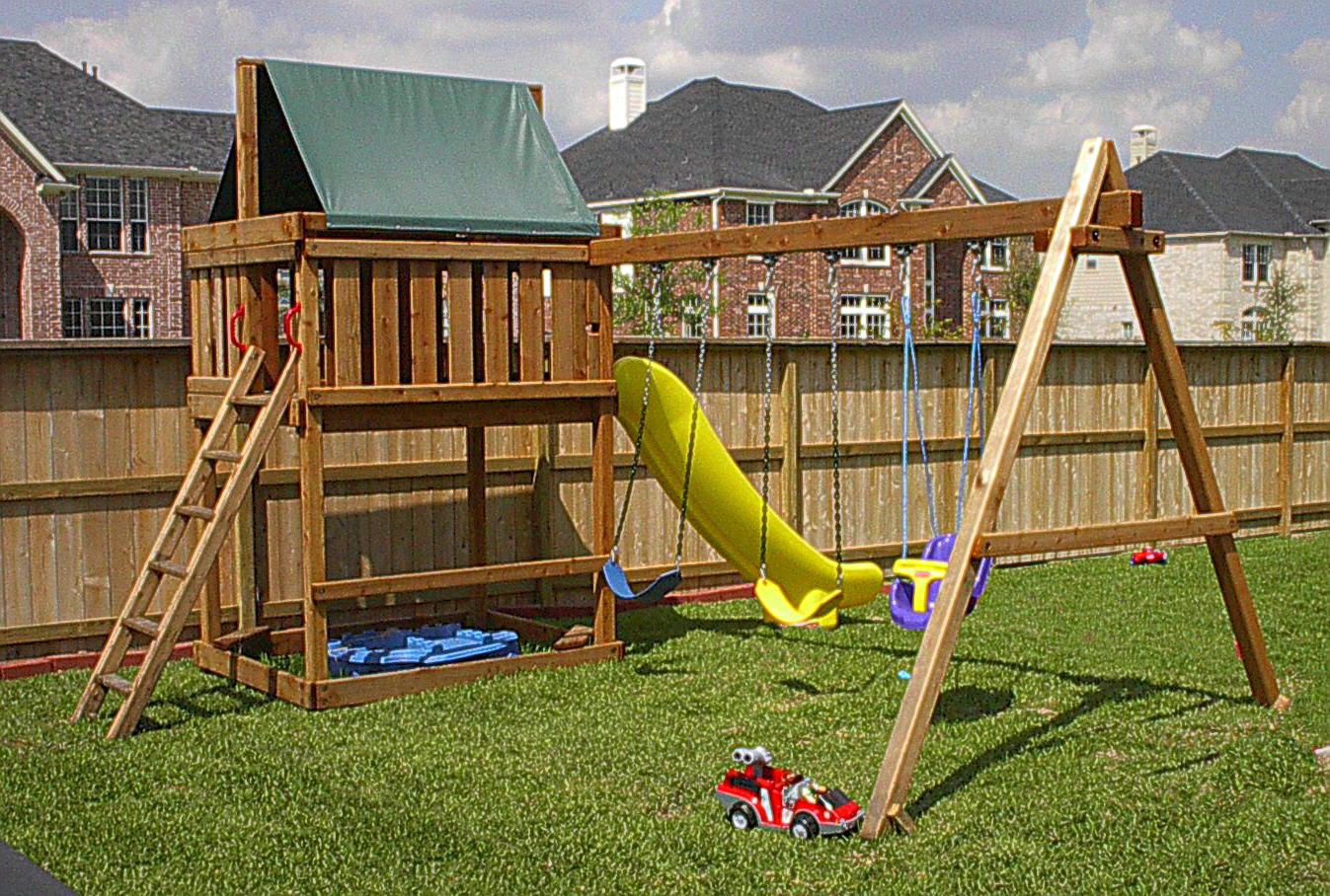 Delightful Jacku0027s Backyard Apollo Redwood Fort With 3 Position Swingset Kit Add On Gallery