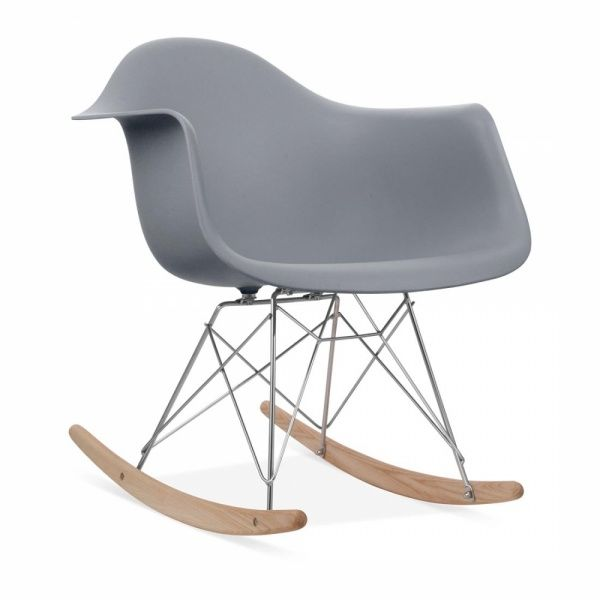 Iconic Designs Cool Grey Rar Style Rocker Chair Eames Rocking