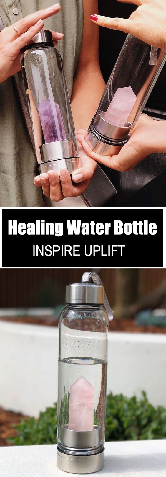 5)  Now you can make your own powerful crystal elixir water with this elegantly handcrafted, Healing Natural Quartz Water Bottle!  Currently 50% OFF with FREE Shipping! is part of Bottle -