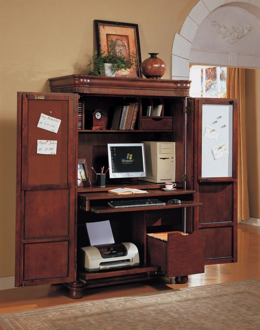 computer armoire--great idea to shut away clutter since computer