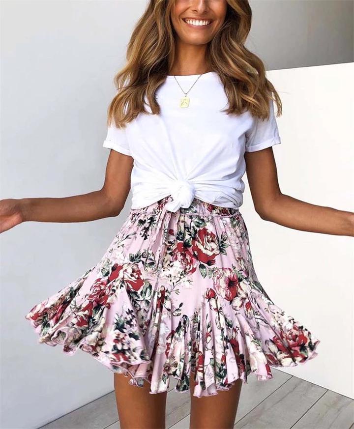 Pleated Floral Print Boho Polka Dot Elastic High Waist Ruffles Pleated A-Line Mini Skirts