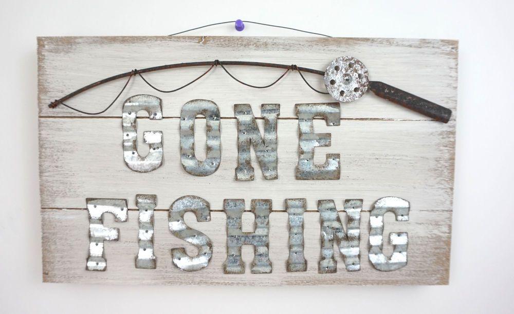 Gone Fishing Wood Sign Plaque Primitive Country Wall Decor Country Cool Gone Fishing Signs Decor
