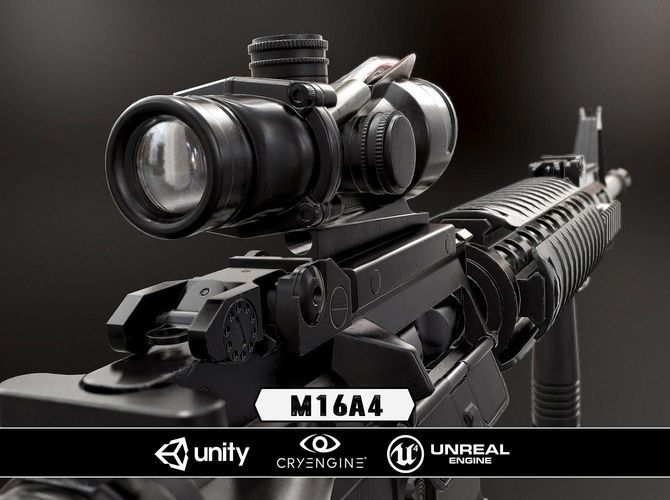 M16A4 and Acog Scope - Model and Textures   gun   Low poly