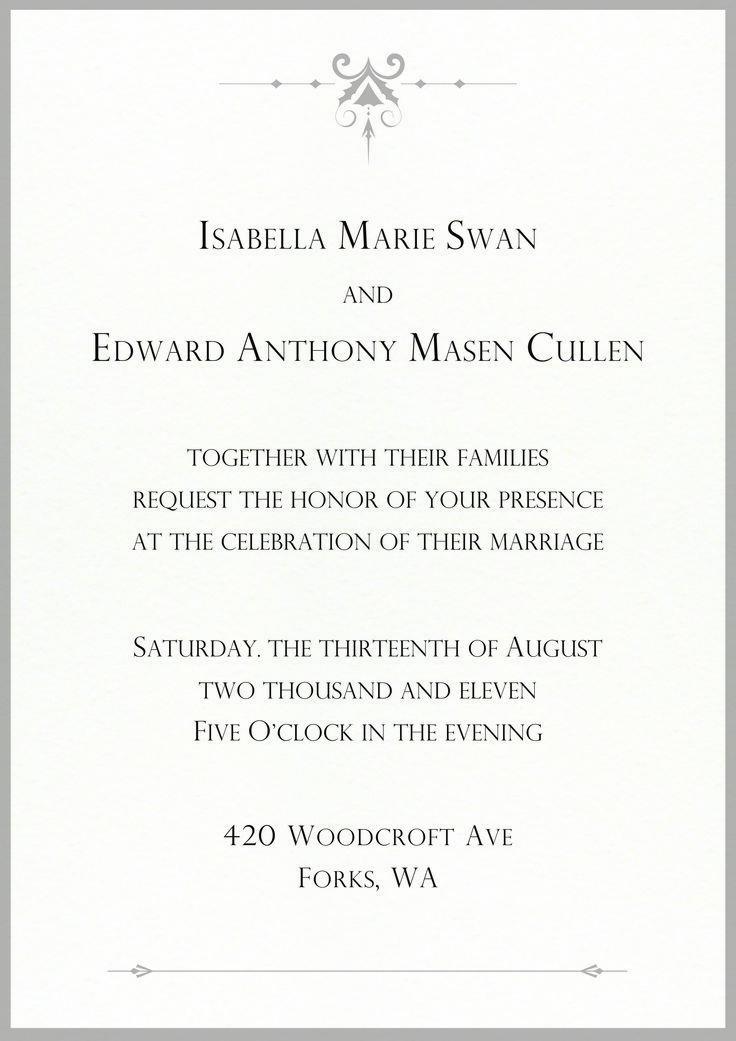 Image Result For Twilight Bella And Edward Wedding Invitation