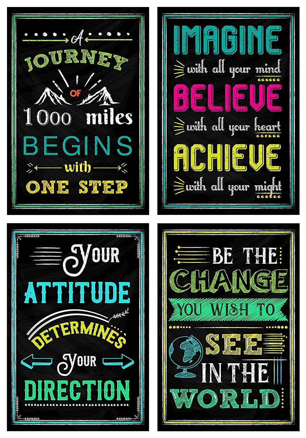 Amazon Com Motivational Posters For Classroom Office Decorations Inspirational Quote Wall Art Fo Wall Art Quotes Inspirational Quotes Wall Art Wall Quotes