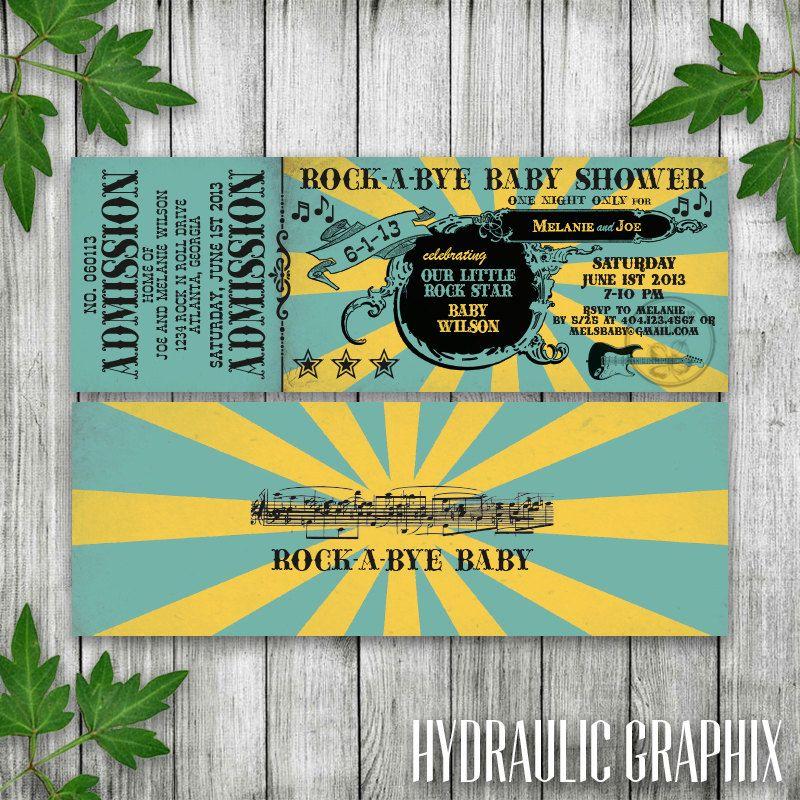 Rock n Roll Baby Shower Invitation Ticket, RockaBye Baby - concert ticket invitations template